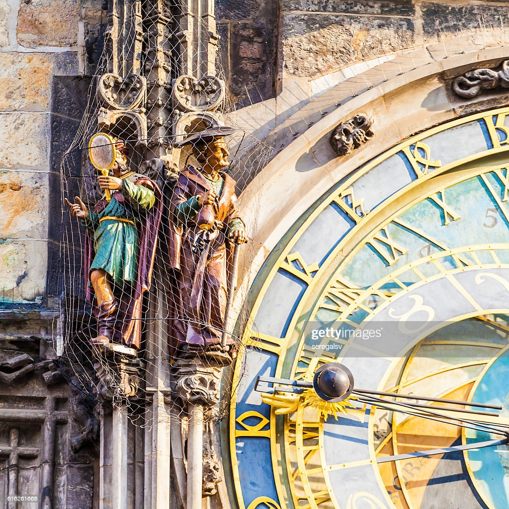 Prague astronomical clock in Old Town Square. Details of the : Foto de stock