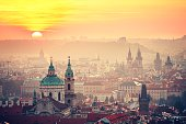 Cityscape of Prague at the sunrise - Czech Republic