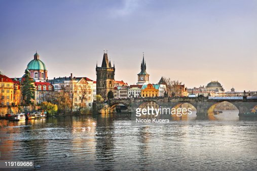 Prague bridge vltava river