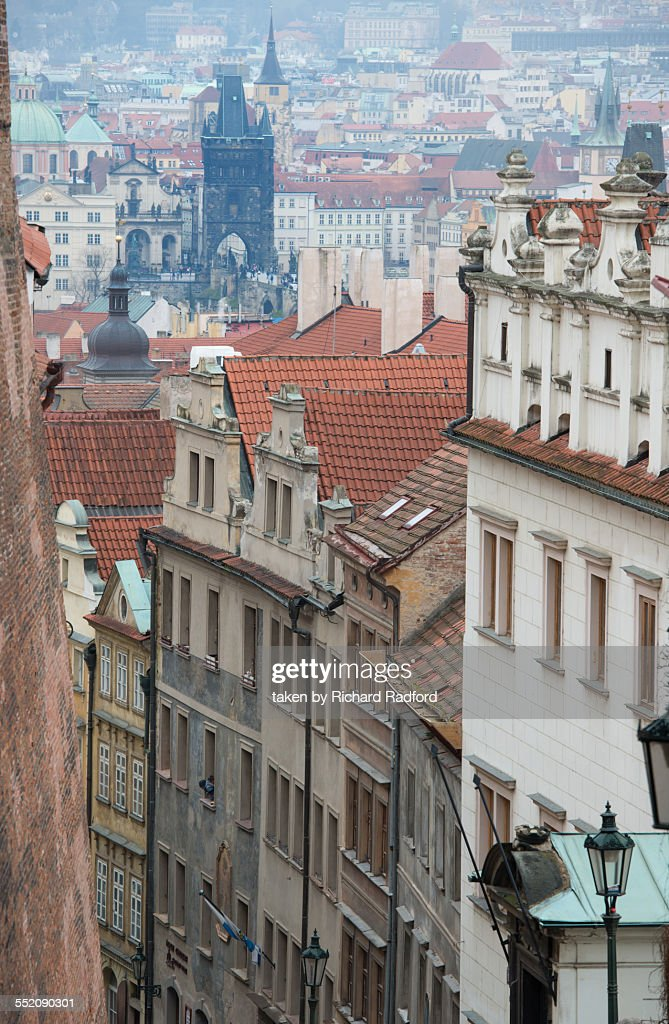 Prague buildings and Charles Bridge