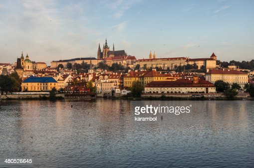 Prague Castle with the St. Vitus Cathedral : Stock Photo