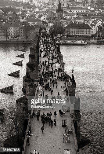 Prague Charles Bridge Aerial view walking people