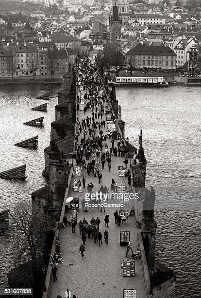 Prague Charles Bridge Aerial view walking people
