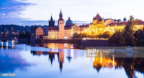 Prague City and the Charles Bridge at Sunset Czech Republic