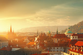Prague cityscape in the morning