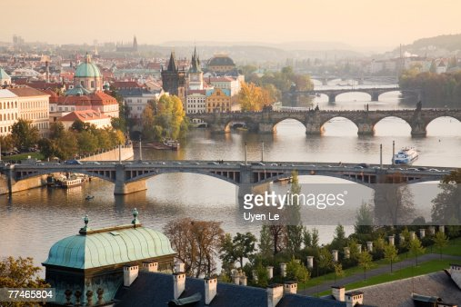 Prague Cityscape with the Vltava River and its Bridges at sunset 2007.