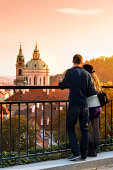 Prague, Couple looking over city