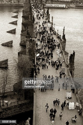 Prague crowded Charles Bridge Aerial view Black and White