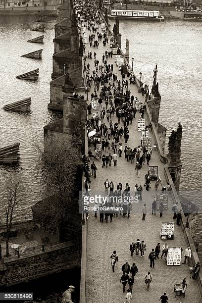 Prague crowded Charles Bridge Aerial view Black and White