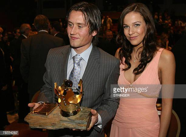 Czech national football team player and member of the English Premiership soccer team Arsenal Tomas Rosicky poses late 05 February 2007 with his...