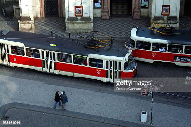 Prague Czech Republic tourist walking High angle Tram Cars