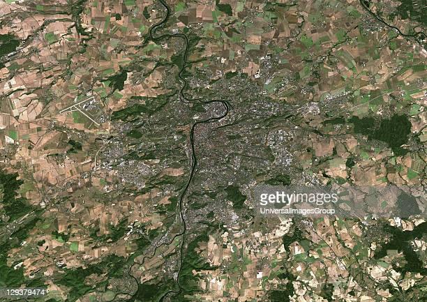 Prague Czech Republic True colour satellite image of Prague capital city of the Czech Republic Image taken on 15 September 1999 using LANDSAT 7 data...