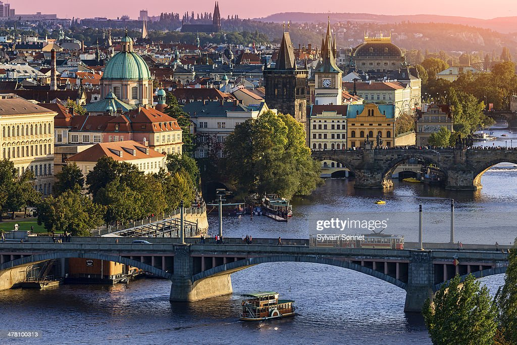 Prague, Over view of city and river.