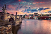 Image of Prague, capital city of Czech Republic, during beautiful sunset.