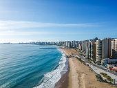Praia de Iracema Beach from above, Fortaleza, Ceara State, Brazil.