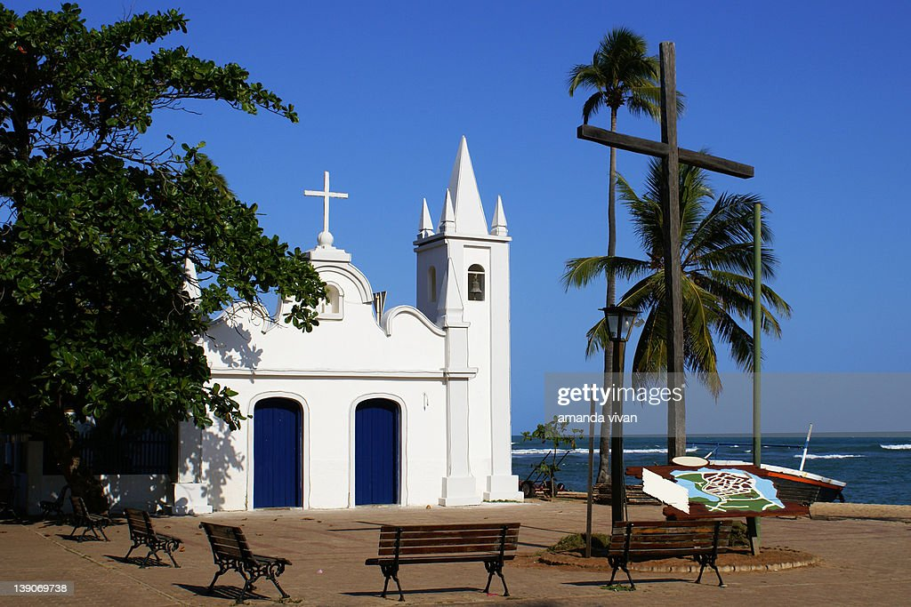 Praia do forte church : Stock Photo