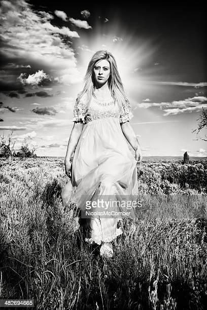 Prairie Angel schwarz und weiß kontrastreich mit Heiligenschein