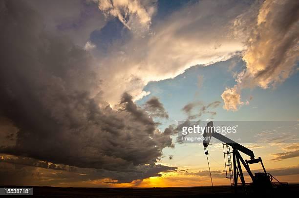 Prairie Pumpjack Silhouette