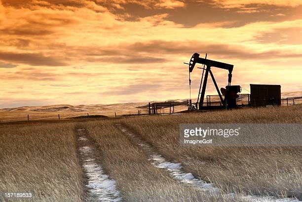 Prairie Pumpjack with Dramatic Sunset Sky