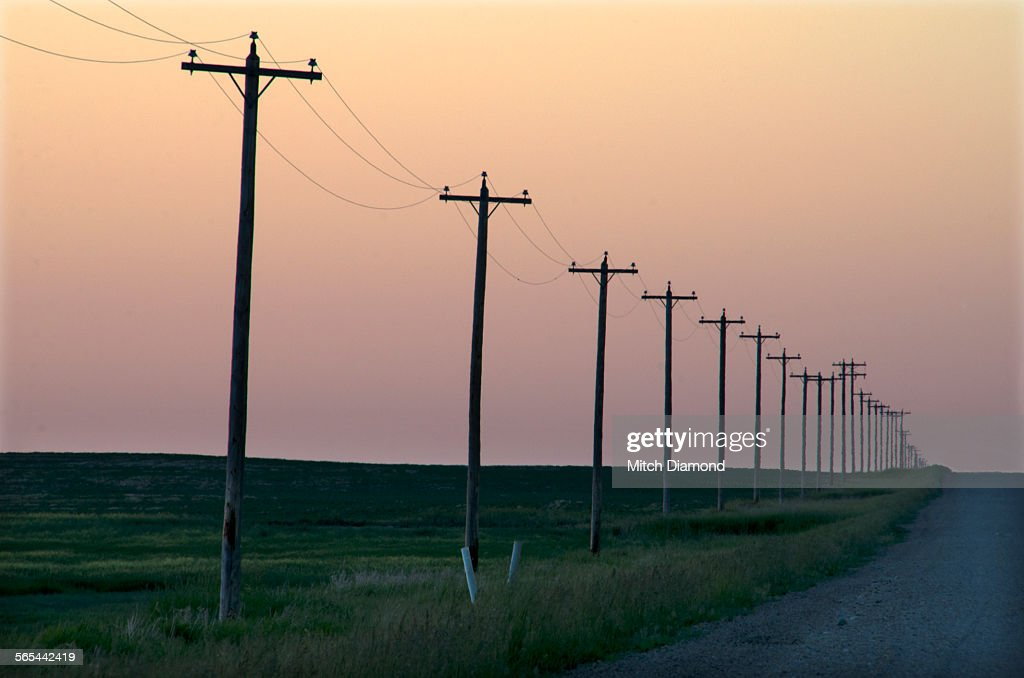 Prairie Telephone poles along road