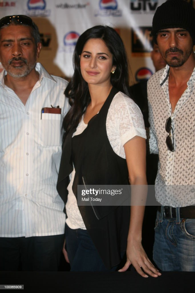 Prakash Jha, Katrina Kaif and Arjun Rampal at a promotional event for the film Rajneeti in New Delhi on May 20, 2010.