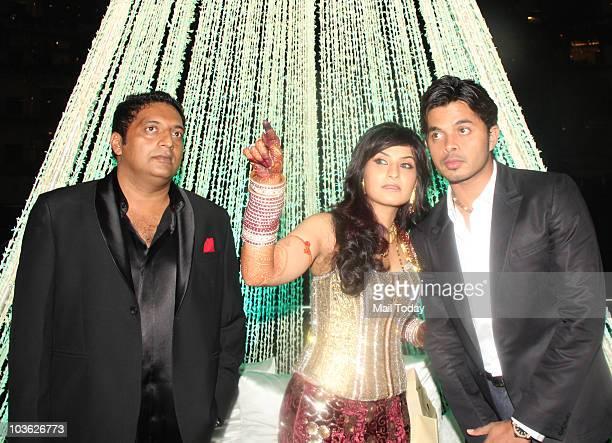 Prakash Raj and Pony Verma with Sreesanth at their wedding reception in Mumbai on August 24 2010