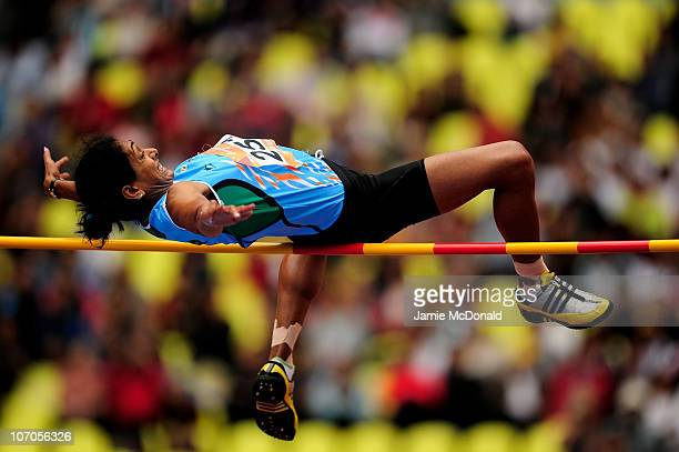 Pramila Ganapathy Gudandda of India competes in the Women's Heptathlon High Jump at Aoti Main Stadium during day ten of the 16th Asian Games...