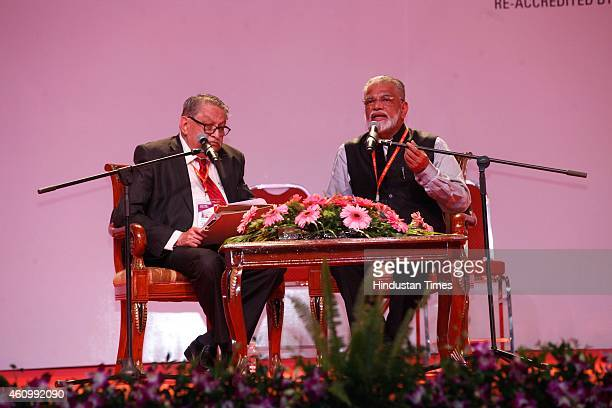 Pramod Kale and K Radhakrishnan Chairman of ISRO during the 102nd Indian Science Congress at Kalina University on January3 2015 in Mumbai India The...