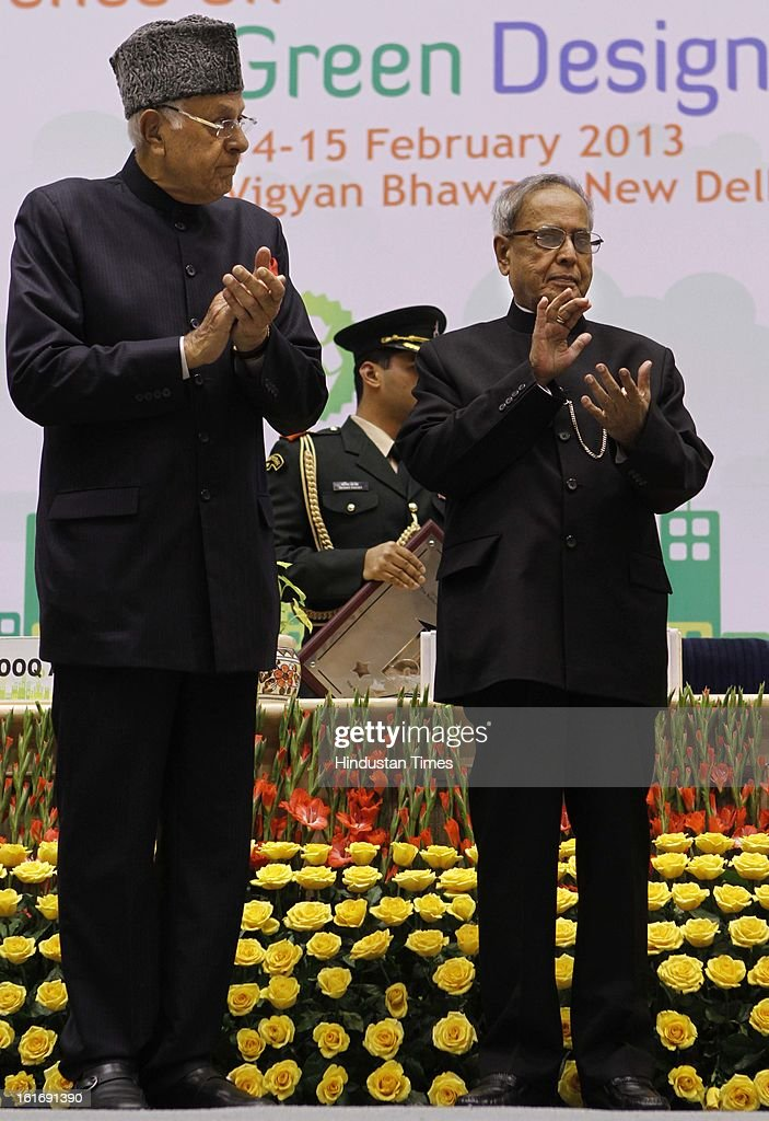 Pranab Mukerjee President of India along with Farooq Abudullah during the National conference on Green Design at Vigyan Bhawan on February 14, 2013 in New Delhi, India.