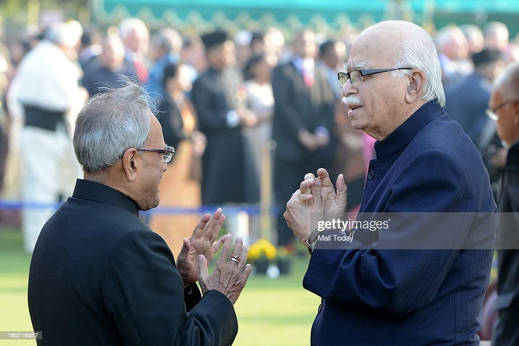 Pranab Mukherjee and LK Advani during At Home reception hosted by him on the occasion of 64th Republic Day at Rashtrapati Bhavan in New Delhi on Saturday.