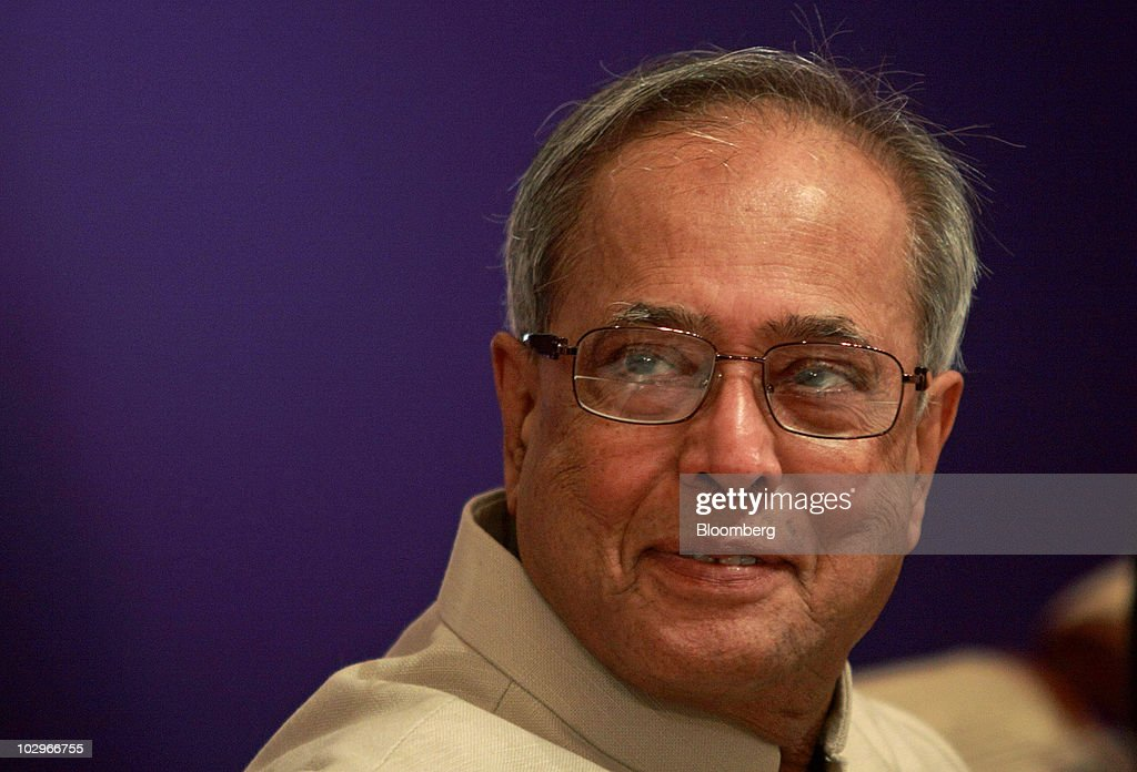 Indian Finance Minister Pranab Mukherjee Speaks At A Financial Conference