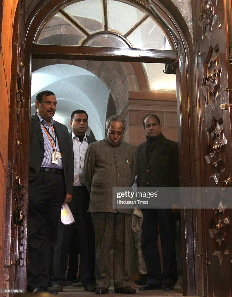 Pranab Mukherjee, Union Finance Minister comes out after voting on the Lokpal Bill in Lok Sabha at Parliament house on December 27, 2011 in New Delhi, India. The Lokpal bill was passed by voice vote with 10 amendments, however the Left parties, SP and BSP walked out in protest before the voting.