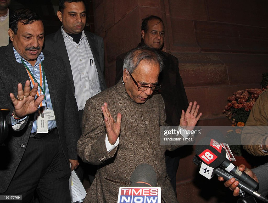 <a gi-track='captionPersonalityLinkClicked' href=/galleries/search?phrase=Pranab+Mukherjee&family=editorial&specificpeople=565924 ng-click='$event.stopPropagation()'>Pranab Mukherjee</a> Union Finance Minister speaks to the media after voting on Lokpal Bill in Lok Sabha at Parliament house on December 27, 2011 in New Delhi, India. The Lokpal bill was passed by voice vote with 10 amendments, however the Left parties, SP and BSP walked out in protest before the voting.