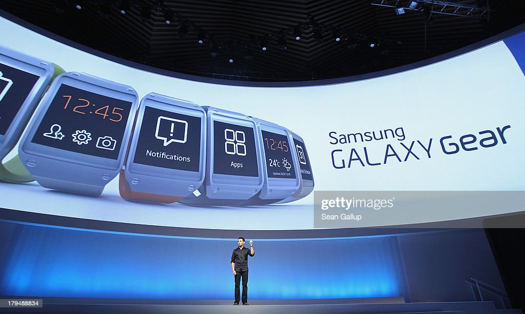 Pranav Mistry of Samsung America presents the new Samsung Galaxy Gear smart watch at the Samsung Unpacked 2013 Episode 2 at Tempodrom on September 4, 2013 in Berlin, Germany. Samsung introduced a total of three new products at the event, on the eve of the IFA 2013 consumer electonics fair.