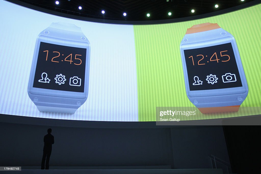 Pranav Mistry of Samsung America presents the new Samsung Galaxy Gear smart watch at the Samsung Unpacked 2013 Episode 2 at Tempodrom on September 4...
