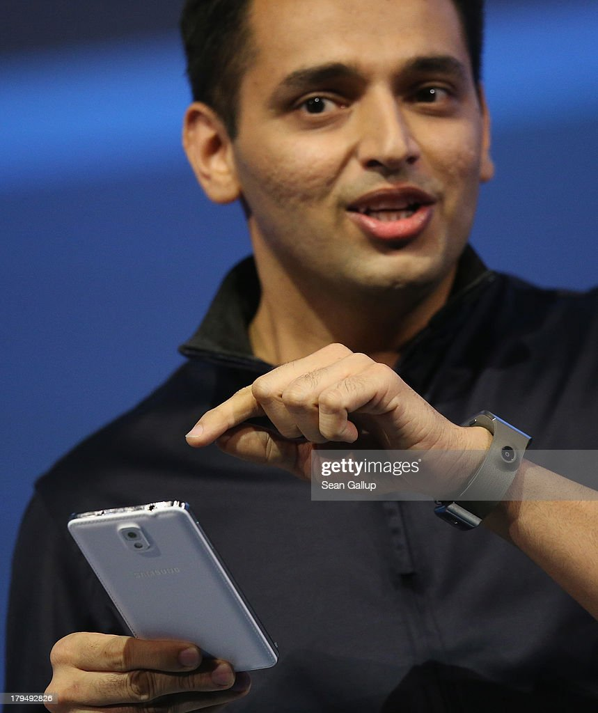 Pranav Mistry of Samsung America presents the new Samsung Galaxy Gear smart watch and Galaxy Note 3 at the Samsung Unpacked 2013 Episode 2 at Tempodrom on September 4, 2013 in Berlin, Germany. Samsung introduced a total of three new products at the event, on the eve of the IFA 2013 consumer electonics fair.