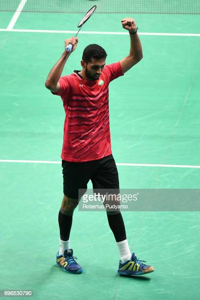 Prannoy H S of India celebrates victory after beating Chen Long of China during Mens Single Quarterfinal match of the BCA Indonesia Open 2017 at...