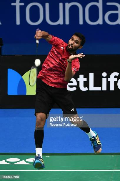 Prannoy H S of India competes against Chen Long of China during Mens Single Quarterfinal match of the BCA Indonesia Open 2017 at Plenary Hall Jakarta...