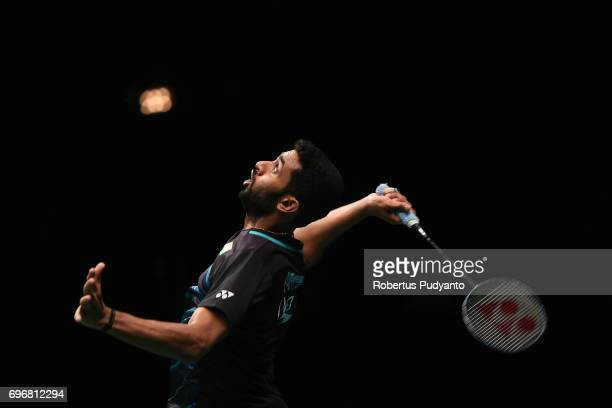 Prannoy H S of India reacts against Kazumasa Sakai of Japan during Mens Single Semifinal match of the BCA Indonesia Open 2017 at Plenary Hall Jakarta...