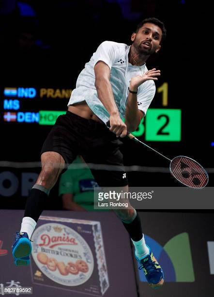 Prannoy HS of India in action during the day one at the DANISA Denmark Open Badminton tournament at Odense Idratshal on October 18 2017 in Odense...