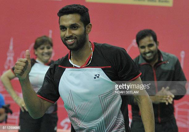 HS Prannoy of India celebrates his win againstSoo Teck Zhi of Malaysia during their men's singles quarterfinal match at the Badminton Asia Team...