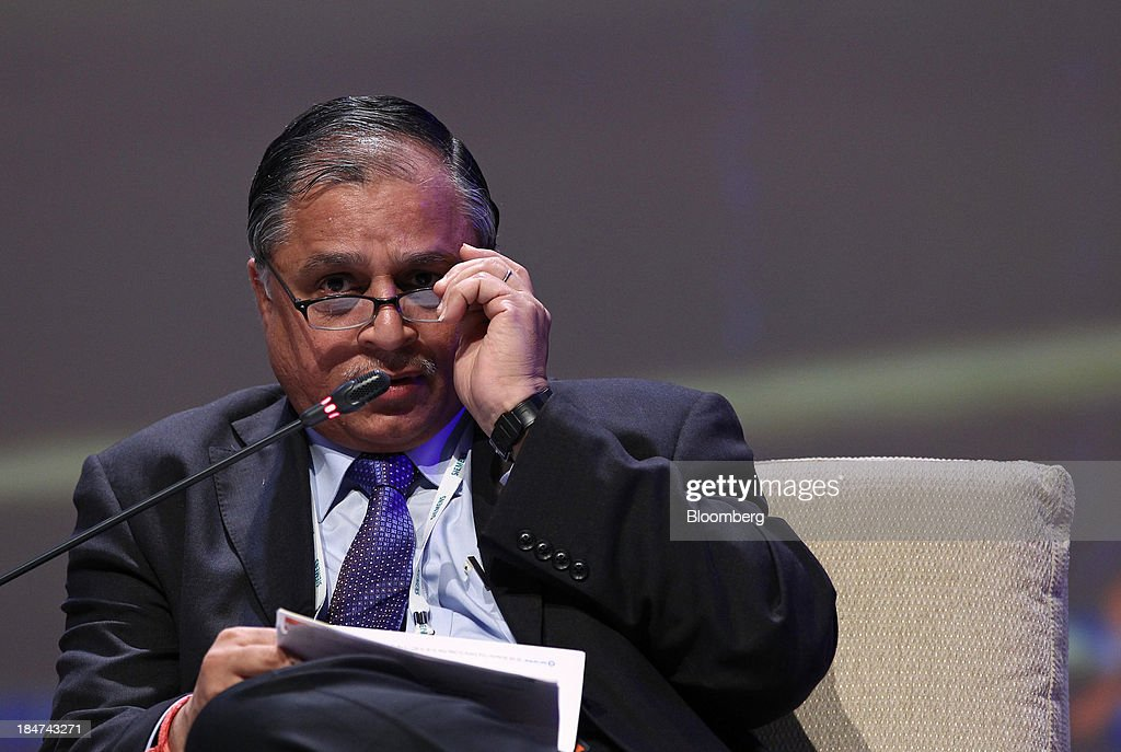 B. Prasada Rao, chairman and managing director of Bharat Heavy Electricals Ltd. (BHEL), adjusts his glasses as he speaks during the 22nd World Energy Congress (WEC) in Daegu, South Korea, on Wednesday, Oct. 16, 2013. The WEC, a global conference on the energy market, runs until Oct. 17. Photographer: SeongJoon Cho/Bloomberg via Getty Images