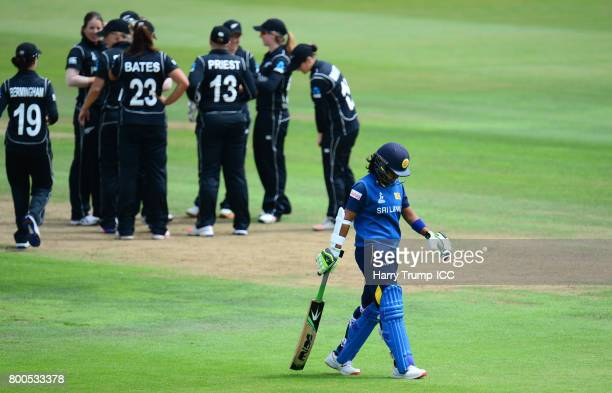 Prasadani Weerakkody of Sri Lanka walks off after being dismissed during the ICC Women's World Cup 2017 match between New Zealand and Sri Lanka at...