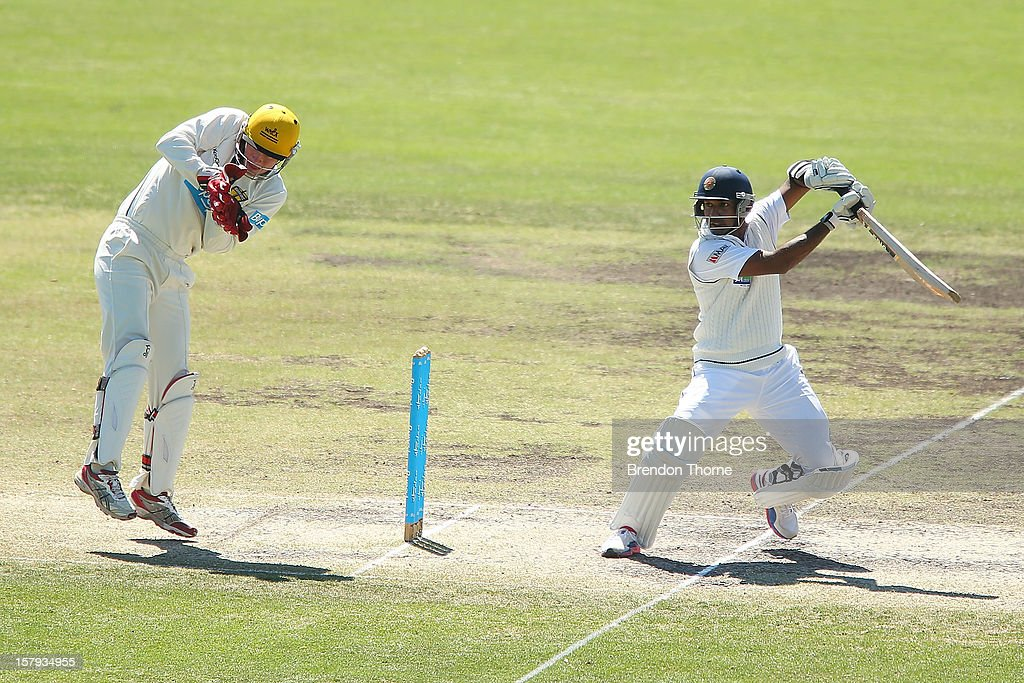 <a gi-track='captionPersonalityLinkClicked' href=/galleries/search?phrase=Prasanna+Jayawardene&family=editorial&specificpeople=576757 ng-click='$event.stopPropagation()'>Prasanna Jayawardene</a> of Sri Lanka bats during day three of the international tour match between the Chairman's XI and Sri Lanka at Manuka Oval on December 8, 2012 in Canberra, Australia.