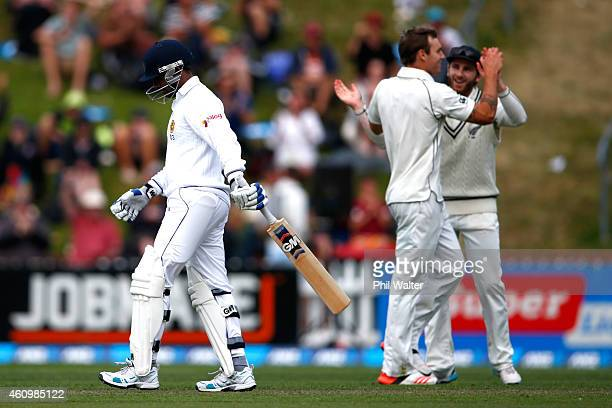 Prasanna Jayawardene walks off after being dismissed off the bowling of Doug Bracewell of New Zealand during day one of the Second Test match between...