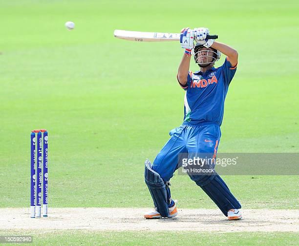 Prashant Chopra of India bats during the ICC U19 Cricket World Cup 2012 Semi Final match between India and New Zealand at Tony Ireland Stadium on...