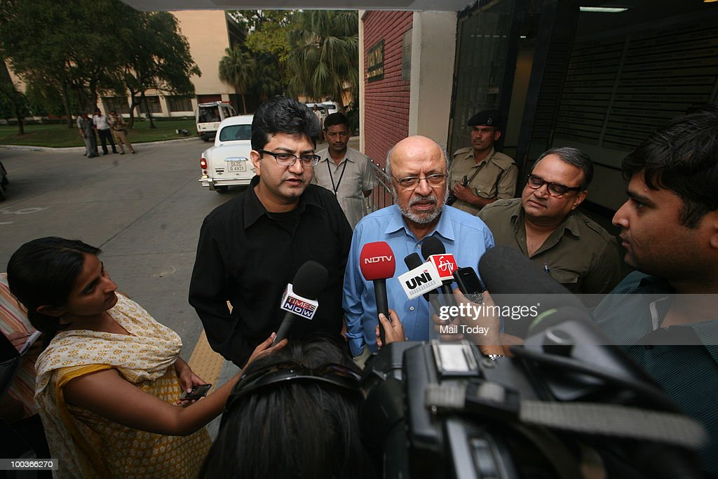 Prasoon Joshi and Shyam Benegal speak to the media after a Commonwealth Games Organising Committee Meeting in New Delhi on May 22, 2010.