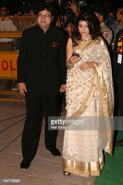 Prasoon Joshi and wife Aparna during Saif Ali Khan and Kareena Kapoor's wedding reception in New Delhi on Thursday night