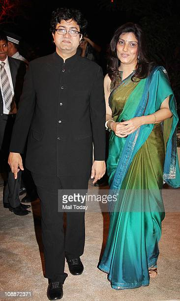 Prasoon Joshi with wife Aparna at Imran Khan and Avantika Malik's wedding reception party which was organised by Aamir Khan and Kiran Rao at Taj...