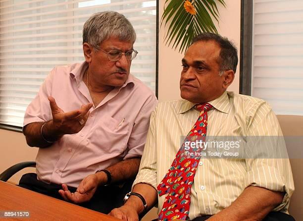 Prasun Banerjee President of Cricket Association of Bengal with BCCI secretary Niranjan Shah at Cricket Association office in Mumbai Maharashtra India